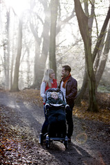 A young couple standing with a stroller in the park, talking