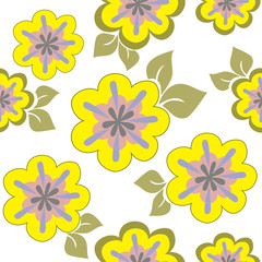 seamless pattern of yellow flowers chaotically placed
