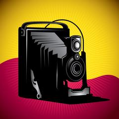 Stylized illustration of old camera.