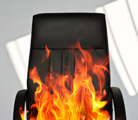 Office chair on fire