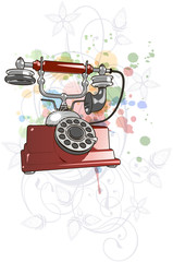 Vector red vintage telephone & floral calligraphy ornament