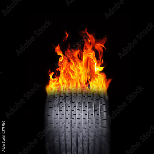 Racing tire flames