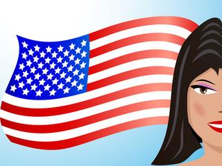 Brunette and USA flag
