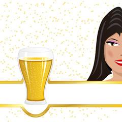 Girl advertising beer