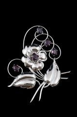 silver and purple vintage brooch