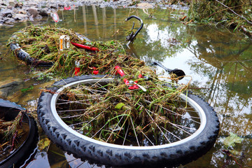 bicykle in water - big flash flood