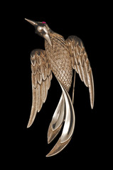 golden vintage bird brooch
