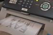 Leinwanddruck Bild - Faxgerät im Büro empfängt eine Nachricht