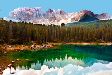 lake in the dolomites with reflections