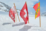 swiss flag on the ice mountain