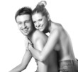 Closeup portrait of a happy young couple