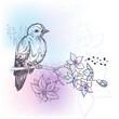 Bird and jasmin branch spring pastel