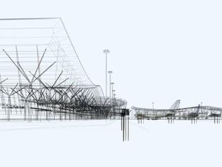 aeroporto grattacieli illustrazione rendering 3d