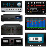 Audio equipment set, amp, equalizer, cassette, deck, dvd