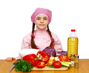 girl preparing lettuce from vegetables
