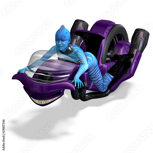 blue alien on a futuristic bike. 3D rendering with clipping