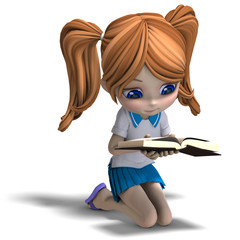 cute little cartoon school girl reads a book. 3D rendering with