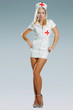 very sexy nurse in medic uniform on light blue background