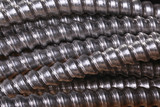 Close up of galvanized conduit