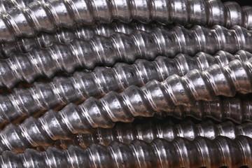 Close up of galvanized conduit