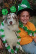 Girl and dog ready for St. Patty's day