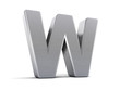 Letter W as brushed metal object over white