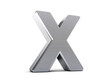 Letter X as brushed metal object over white