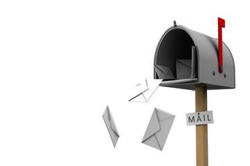 Cassetta delle lettere aperta isolata su bianco
