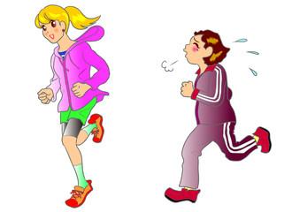 走る二人の女性