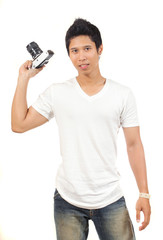 men holding a camera