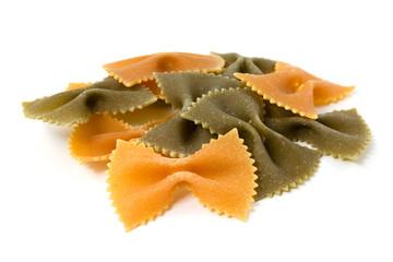 three colour pasta farfalle isolated on white background
