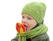 Quadro little girl eating lollipop isolated on white background