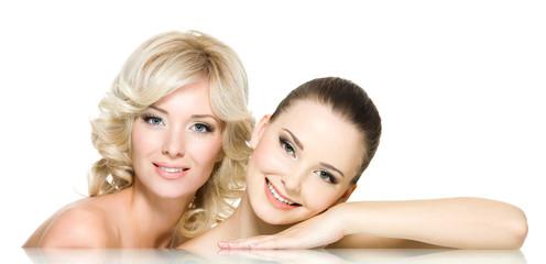 Two happy beautiful women