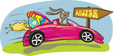 easter bunny - crazy car