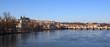 Prague - view of Vltava river and Charles bridge with Prague cas