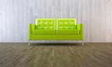 Green sofa in minimal style room poster