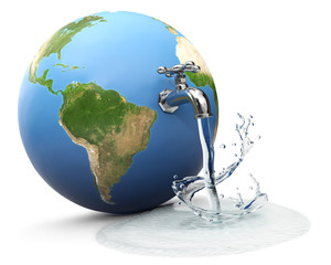 Earth globe with water tap dropping water