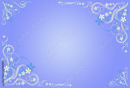floral blue artistic frame