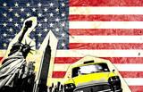 Fototapety drapeau américain avec statue de la liberté taxi jaune