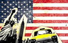 drapeau américain avec statue de la liberté taxi jaune