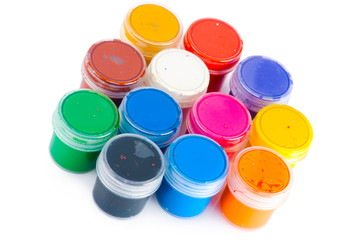 Set of used multicorored watercolor paint