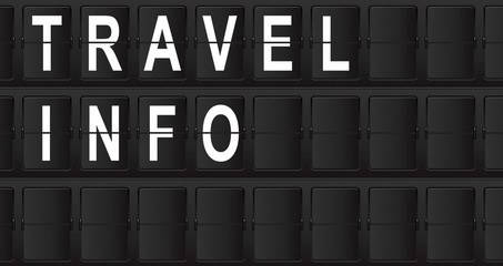 Panel de aeropuerto con texto TRAVEL INFO