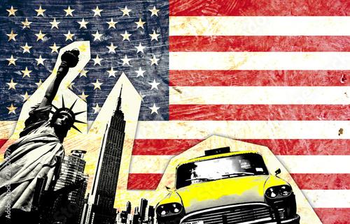 Fototapeta samoprzylepna drapeau américain avec statue de la liberté taxi jaune