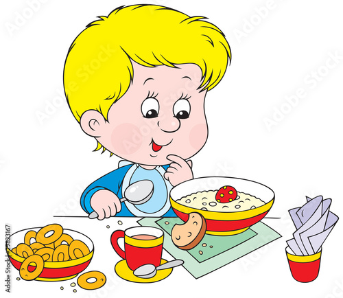 Boy at breakfast