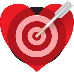 target in the form of red hearts smitten cigarette