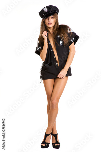 very sexy policewomen with cuffs isolated on white