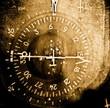 Industrial grunge background, gyro fluxgate compass