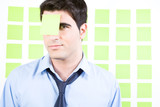 Man with a sticky note on is forehead poster