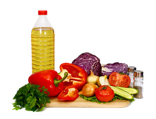sunflower seed oil and vegetables for preparation of salad