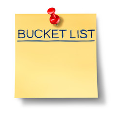 bucket list goals office note red thumb tack isolated